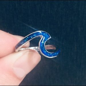 925 Silver Blue Fire Opal Ring Size: 9